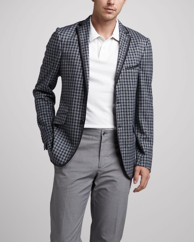 Etro Check Knit Sport Coat In Blue For Men Navy Lyst
