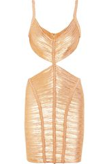 Hervé Léger Metallic Cutout Bandage Dress - Lyst