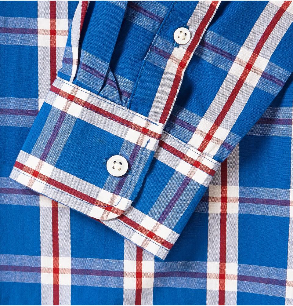 lyst saturdays nyc crosby slimfit plaid cotton shirt in blue for men. Black Bedroom Furniture Sets. Home Design Ideas