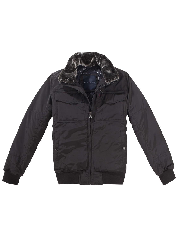 Tommy hilfiger Ken Faux Fur Bomber Jacket in Black for Men | Lyst