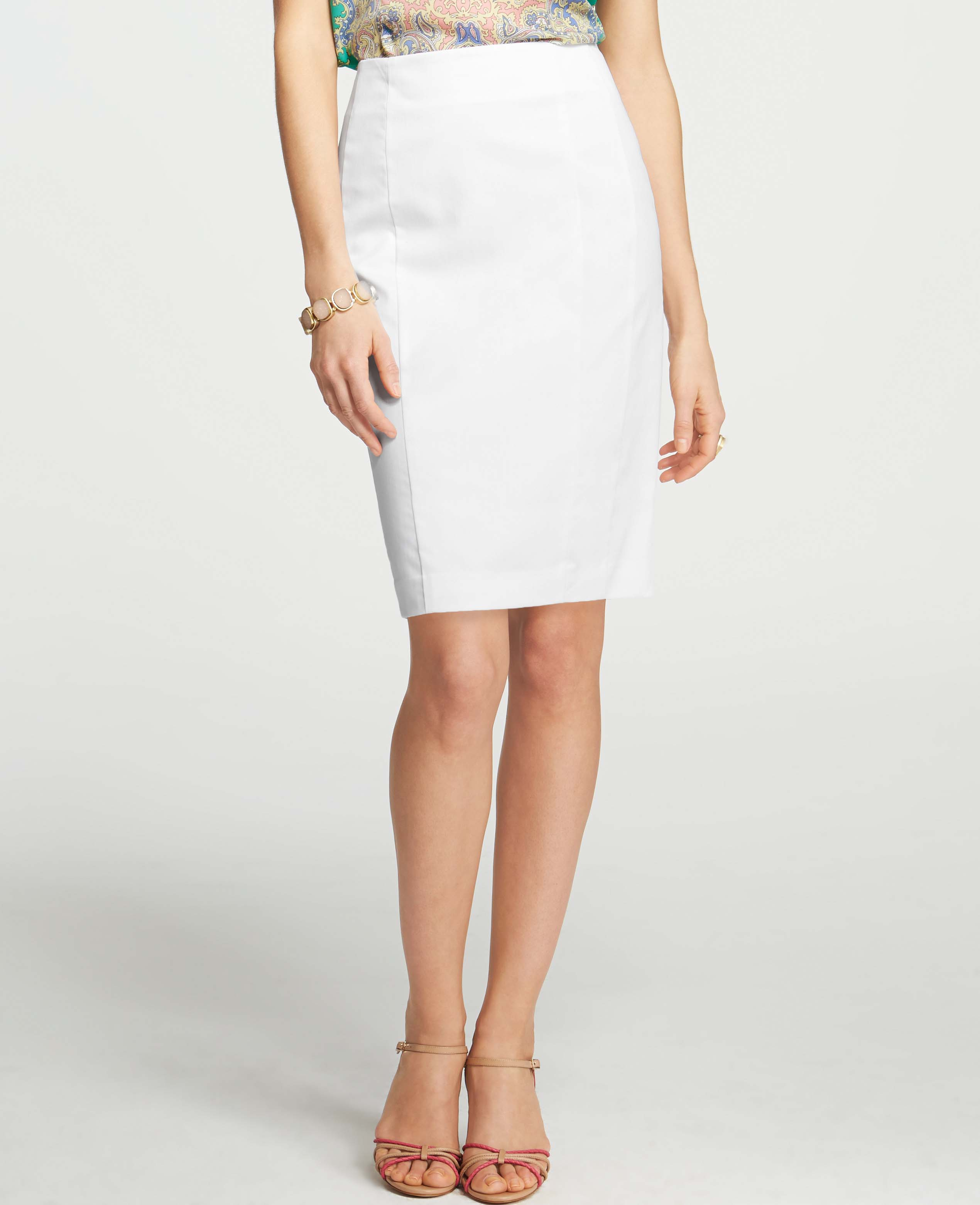 Ann taylor Cotton Sateen Pencil Skirt in White | Lyst