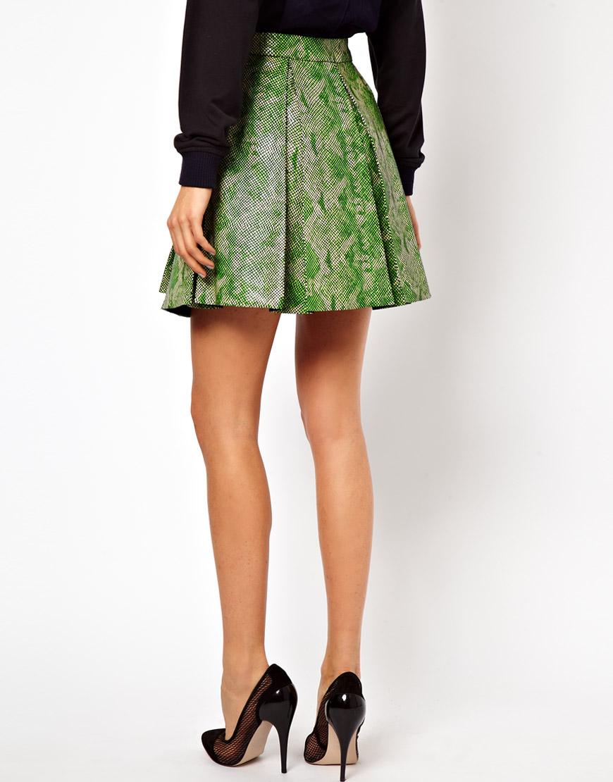 asos leather skater skirt in snake in green lyst