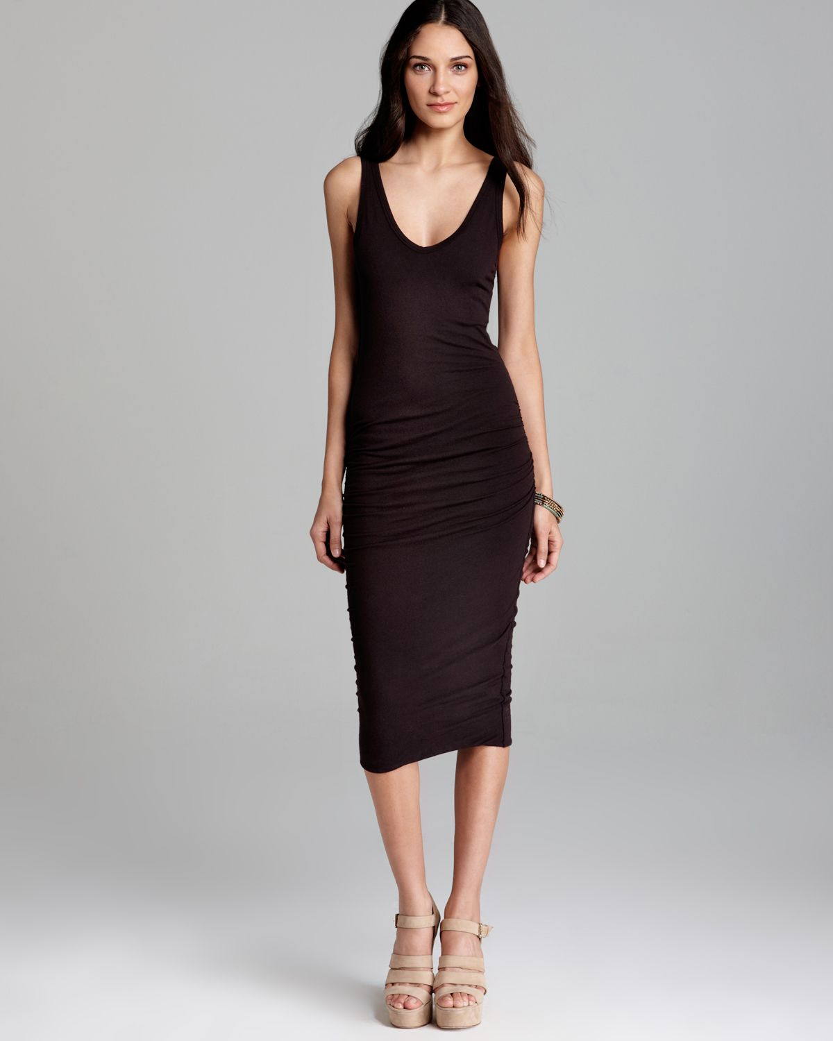 8f7336cdce8dc4 James Perse Tank Dress Skinny Ruched in Black - Lyst