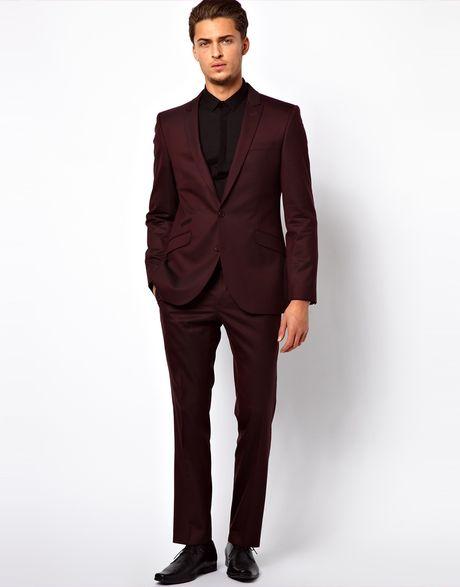 Black leather gloves asos - Lambretta Suit Jacket In Slim Fit In Red For Men Burgundy Lyst