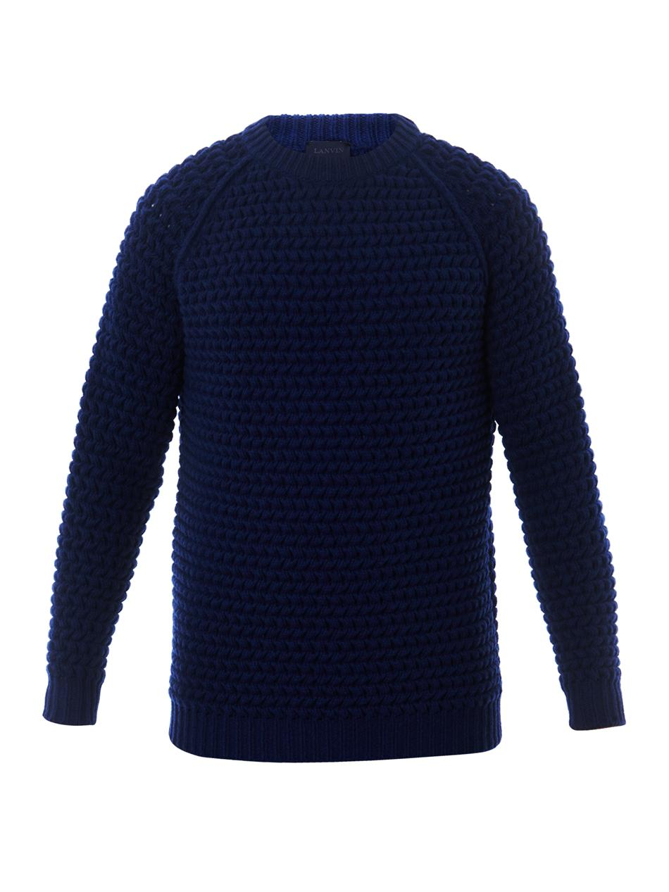 Lanvin Textured Chunky Knit Sweater in Blue for Men | Lyst