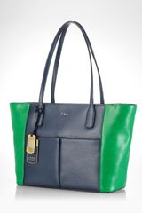 Lauren by Ralph Lauren Tote Newbury Colorblock Pocket Shopper - Lyst