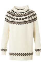 Saint Laurent Fair Isle Knit Oversized Sweater - Lyst