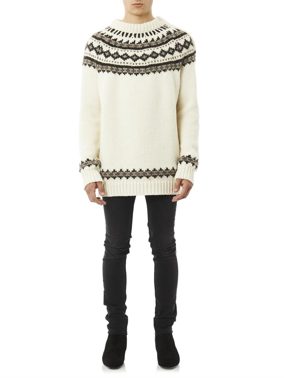 Saint laurent Fair Isle Knit Oversized Sweater in Natural for Men ...