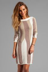 See By Chloé Long Sleeve A Line Sweater Dress in Taupe - Lyst