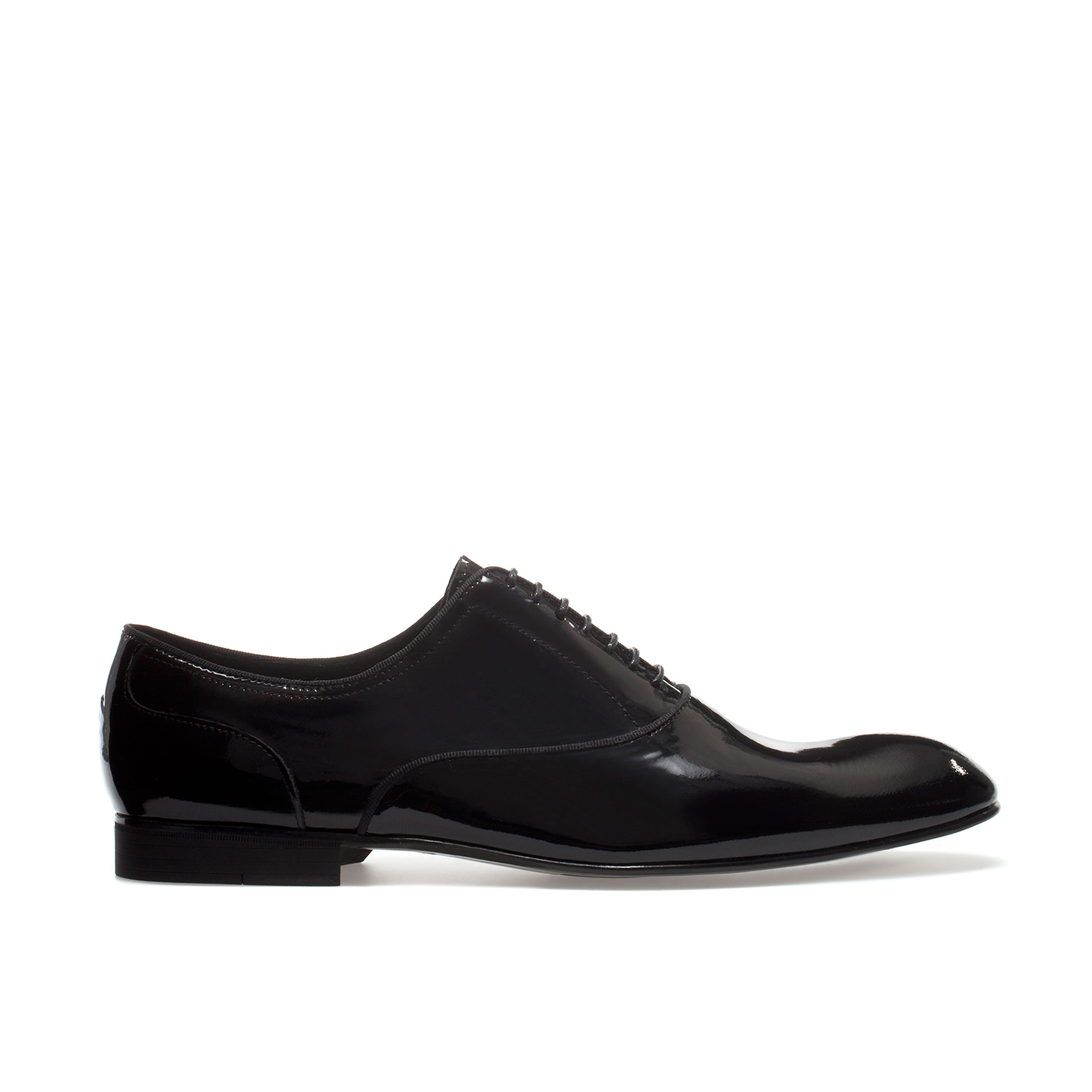 zara asymmetric synthetic patent leather oxford shoe in