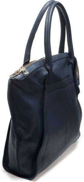 Zara Basic Leather Shopper Bag in Blue for Men