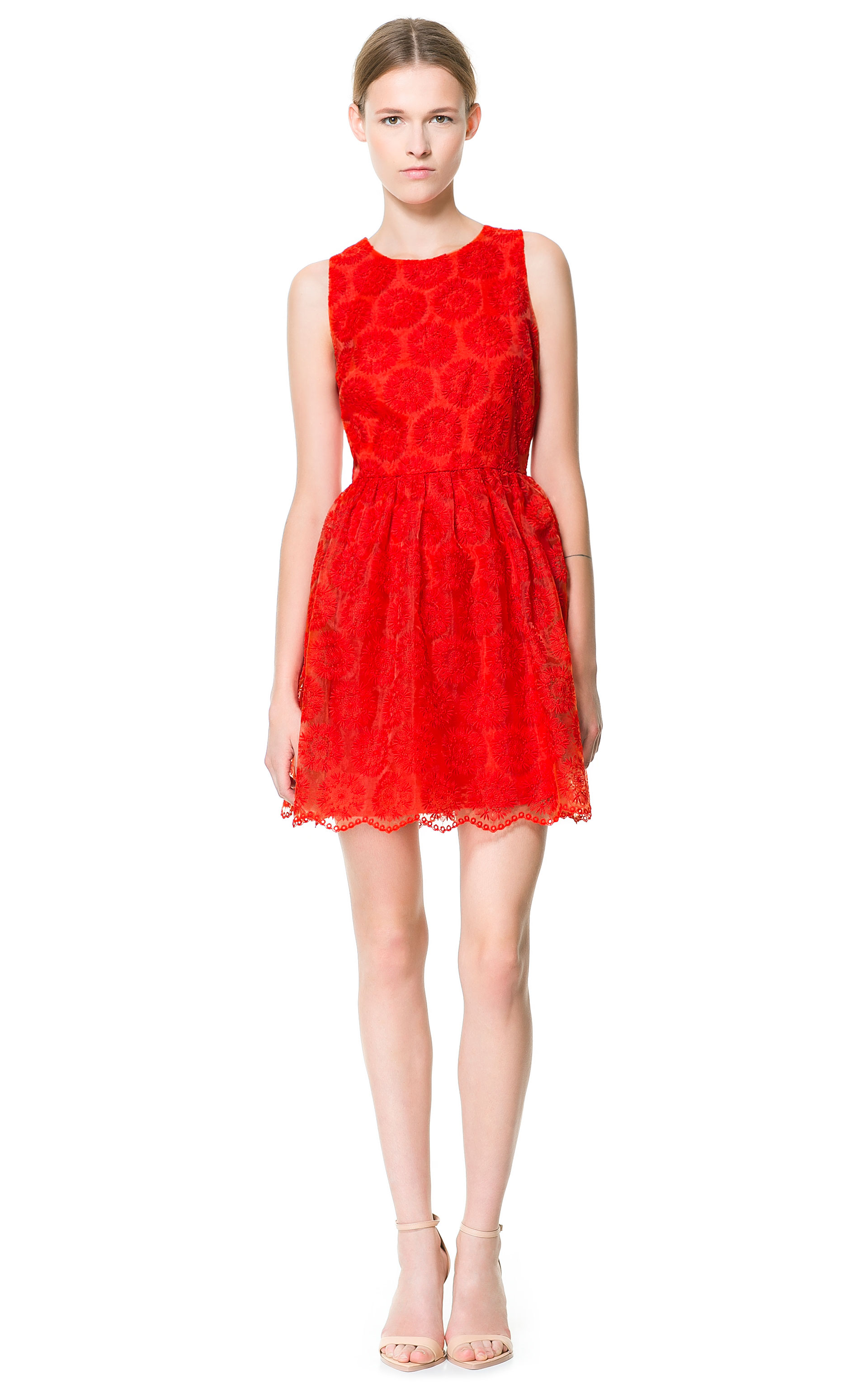 Zara fantasy fabric dress in red lyst gallery ombrellifo Image collections
