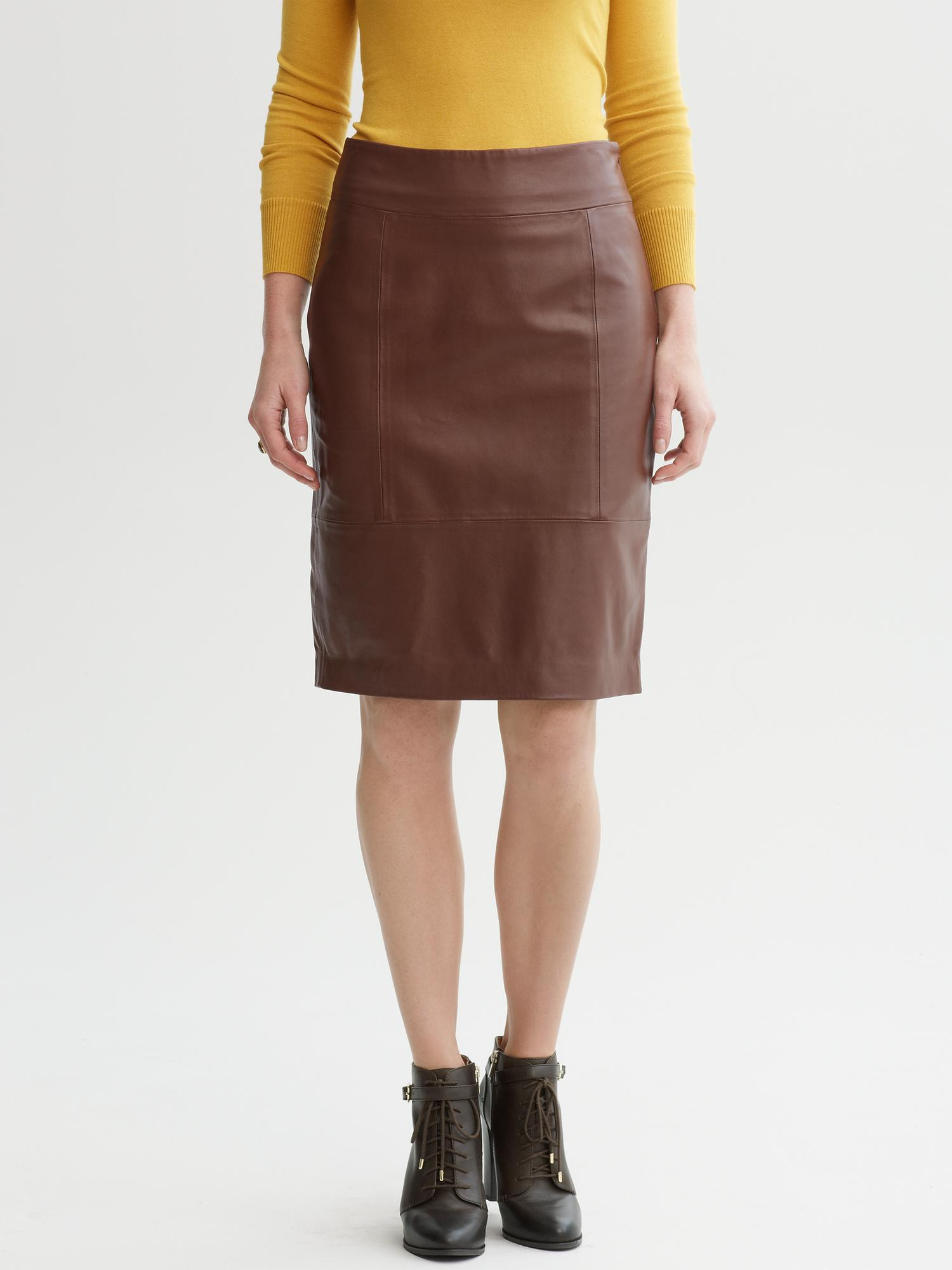 Lyst Banana Republic Heritage Leather Pencil Skirt In Brown
