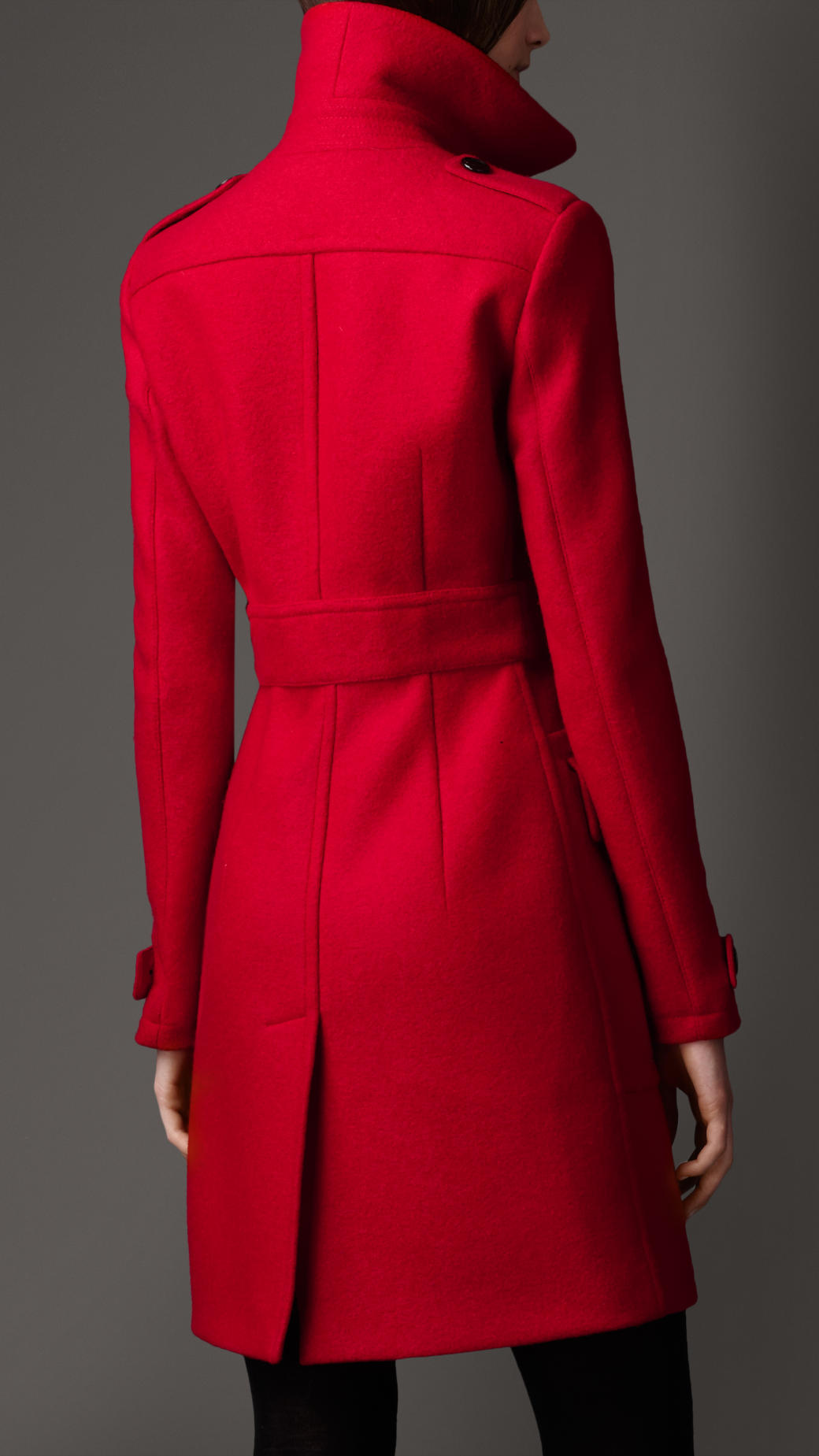 Burberry Buckle Detail Wool Coat in Red | Lyst