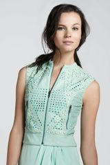 Catherine Malandrino Studded Perforated Leather Vest - Lyst