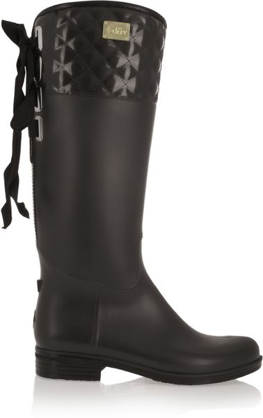 Dav Eve Quilted Pvc Rain Boots In Black Brown Lyst