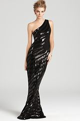David Meister Gown One Shoulder Sequin Gown - Lyst