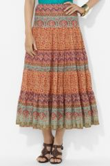 Lauren by Ralph Lauren Paisley Tiered Cotton Skirt - Lyst