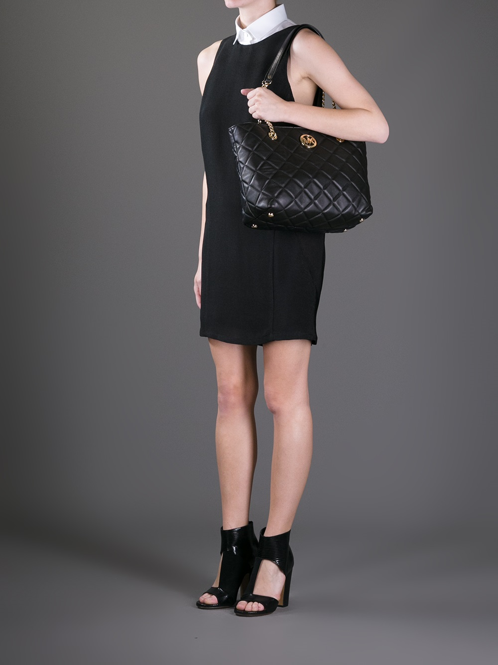 Lyst - Michael michael kors Fulton Large Quilted Tote in Black : michael kors fulton quilted tote - Adamdwight.com