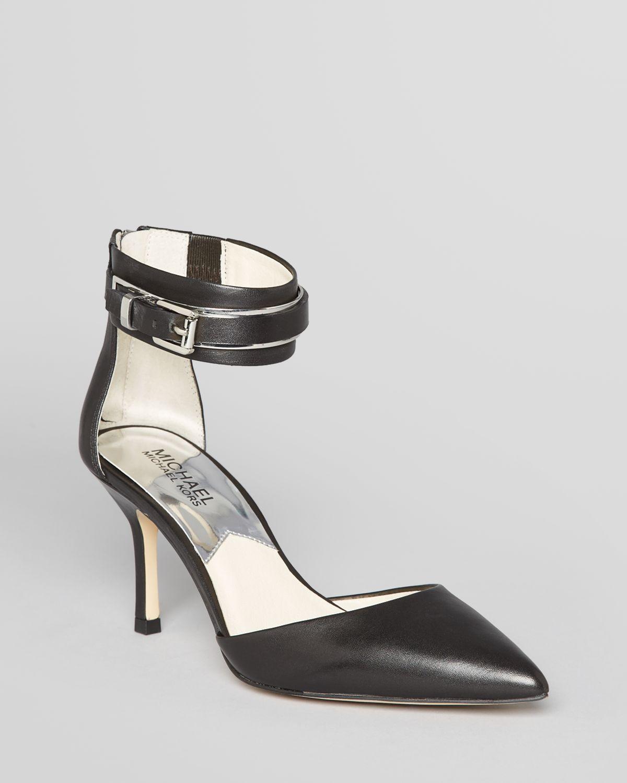michael michael kors pointed toe pumps karlie back zip ankle strap high heel in black lyst. Black Bedroom Furniture Sets. Home Design Ideas