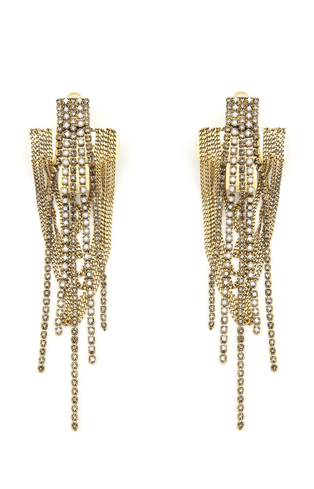 Lyst Nicole Miller Chain Cross Earrings In Metallic