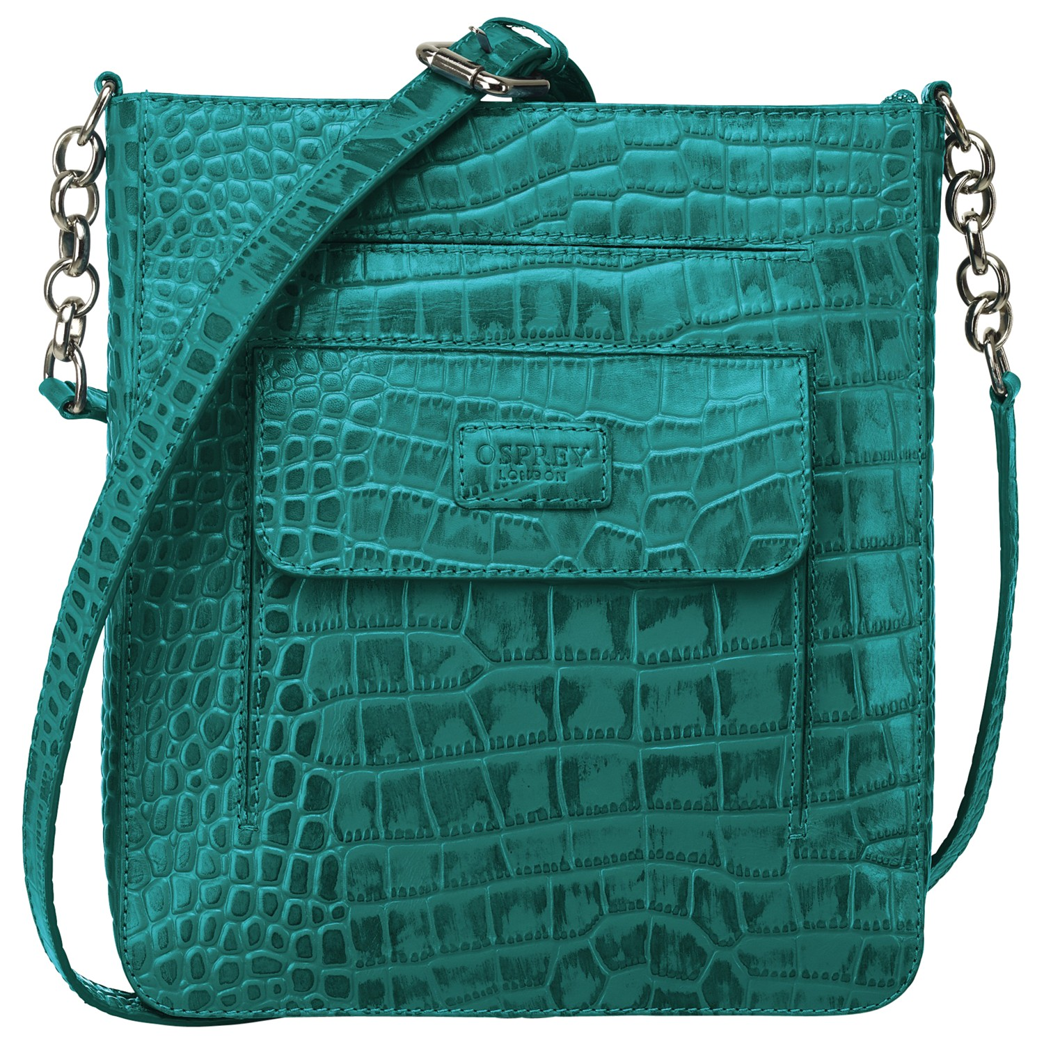 Osprey London The Carapace Across Body Handbag in Green (Teal)