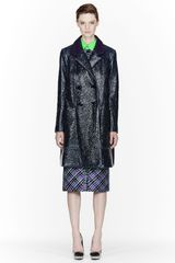 Roksanda Ilincic Navy Laminated Wool Long Peacoat - Lyst