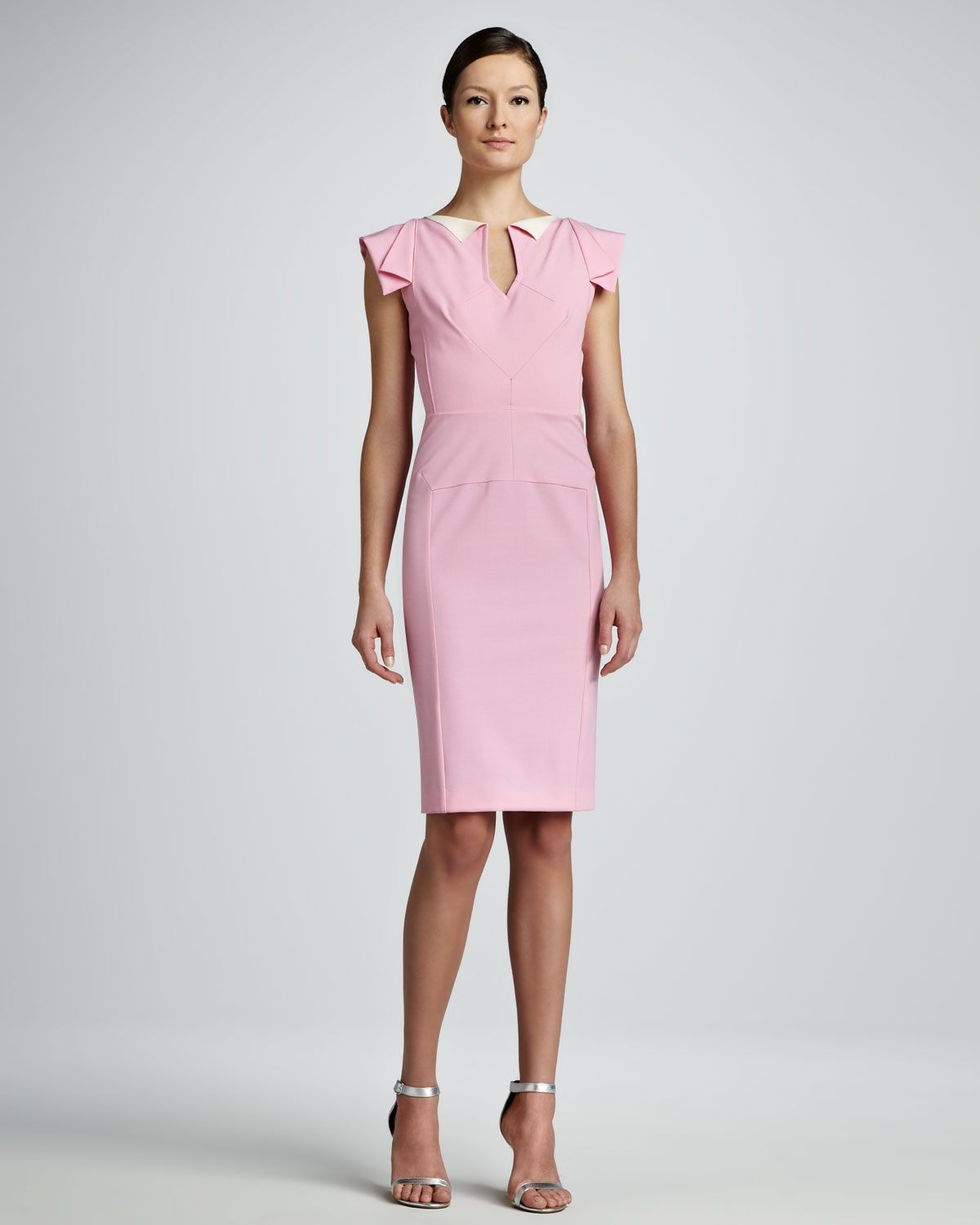 Lyst Roland Mouret Cap Sleeve Sheath Dress Light Pink In