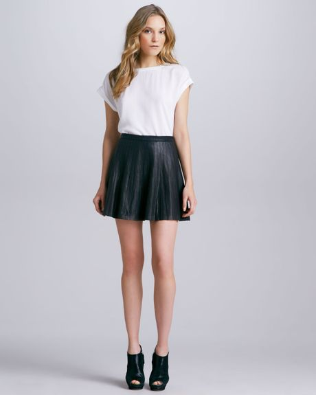 theory actra pleated leather skirt in black lyst