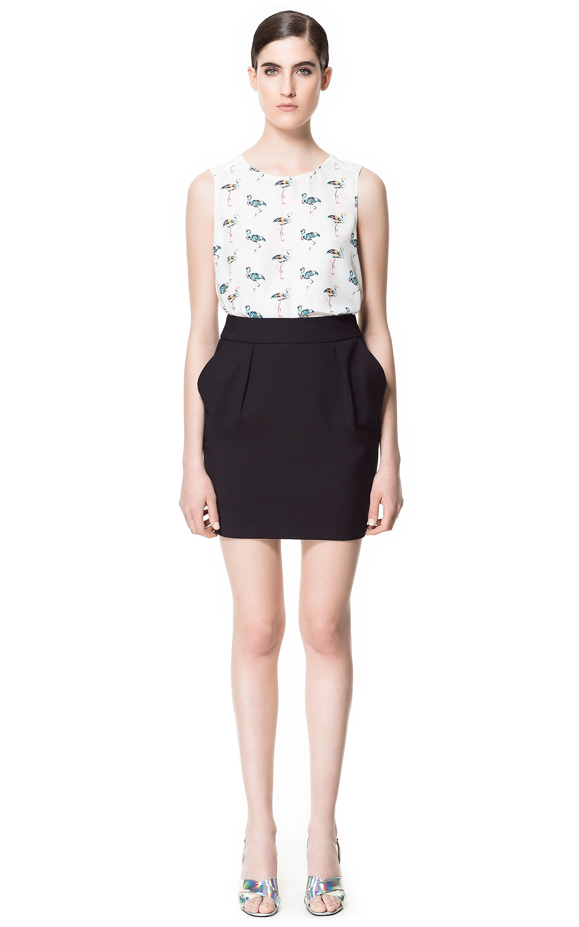 Zara Tulip Skirt in Black | Lyst