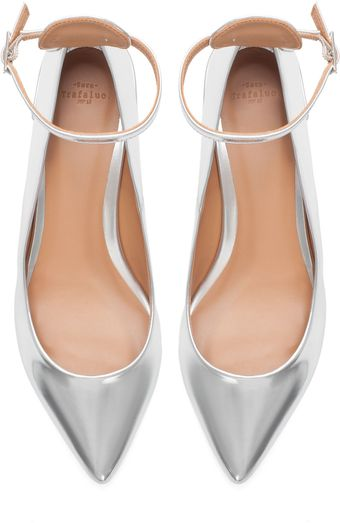 Zara Metallic Ballerina with Ankle Strap - Lyst
