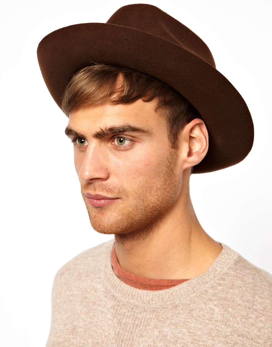 96511af1bc5aa ASOS Trilby Hat with Wide Brim in Brown for Men - Lyst