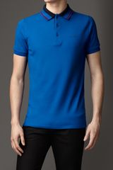 Burberry Striped Collar Polo Shirt - Lyst