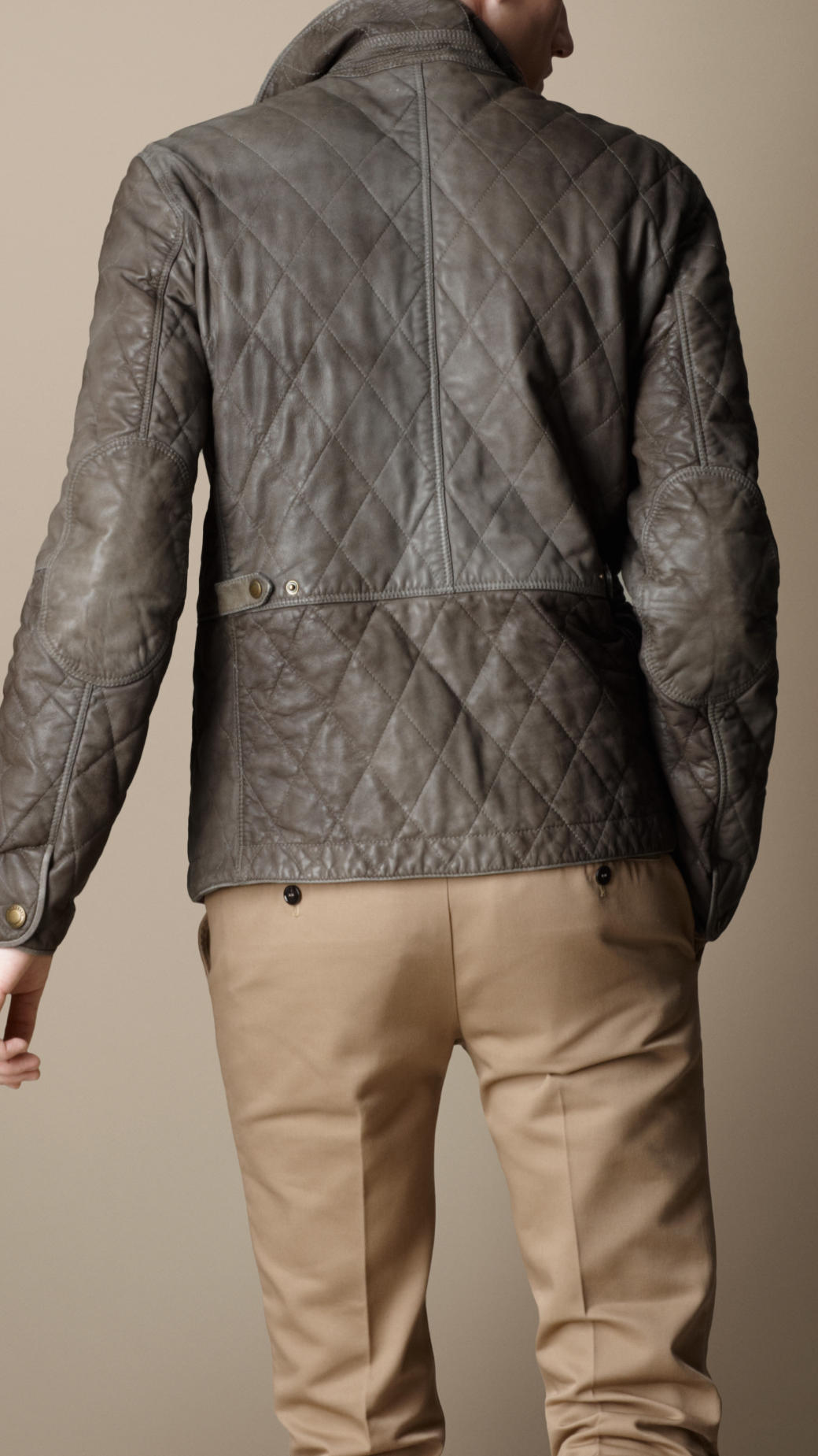 Lyst Burberry Diamond Quilted Leather Jacket In Brown