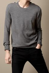 Burberry Check Detail Merino Wool Sweater - Lyst