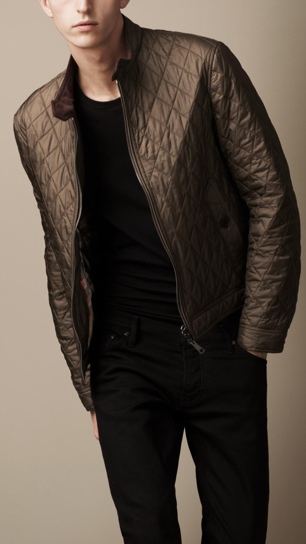 Burberry Diamond Quilted Harrington Jacket In Metallic For