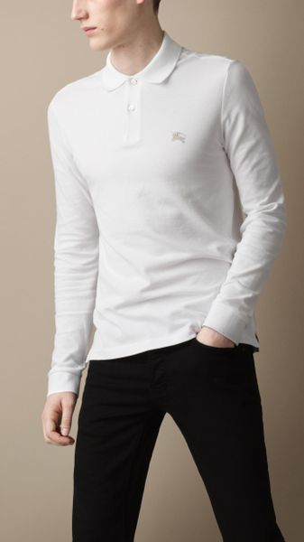 Burberry Long Sleeve Polo Shirt In White For Men Lyst