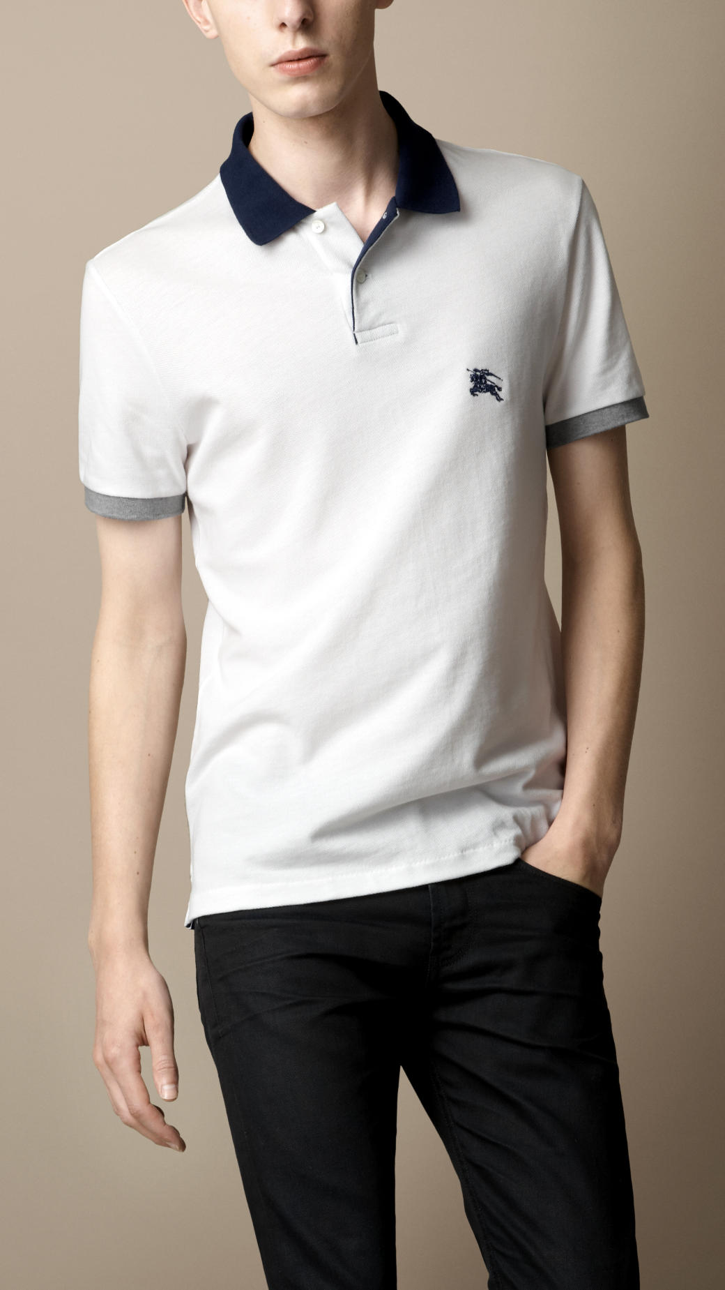 burberry contrast collar polo shirt in white for men lyst
