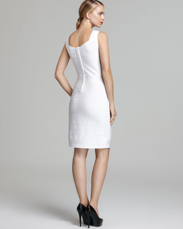 0498cbf6 Calvin Klein Bandage Dress V Neck Compression in White - Lyst