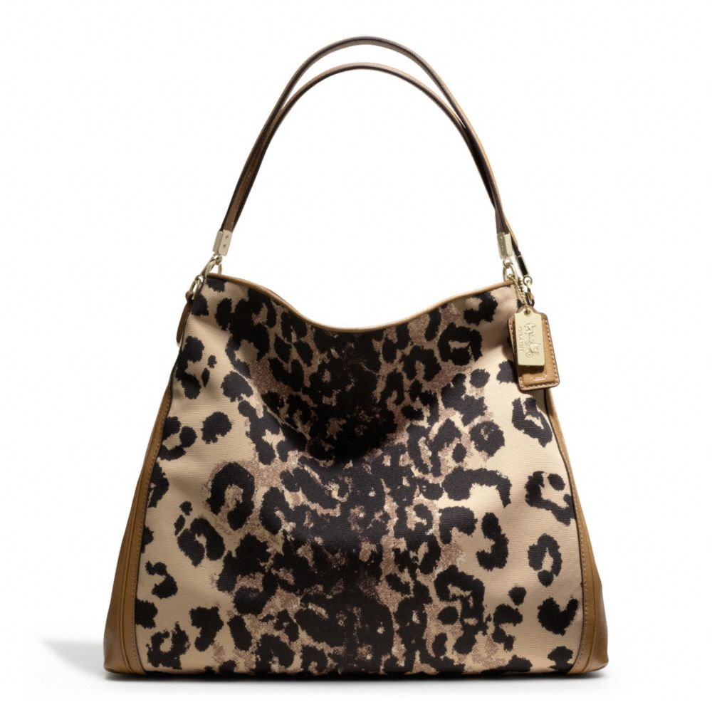 Coach Madison Phoebe Shoulder Bag In Ocelot Print Fabric