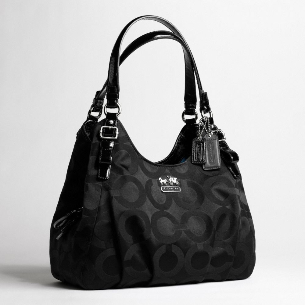 Coach Madison Op Art Sateen Maggie Shoulder Bag in Natural ...