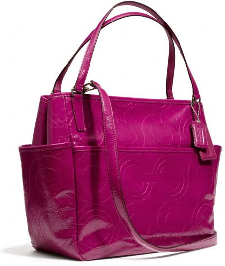 Coach Baby Bag Tote In Stitched Patent Leather In Purple