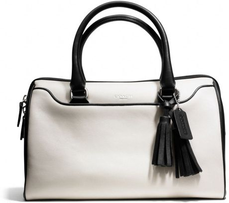 Coach Legacy Haley Satchel in Two Tone Leather in White (SV/MUSHROOM/BLACK)