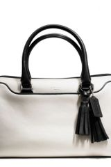 Coach Legacy Haley Satchel in Two Tone Leather in White (SV/MUSHROOM/BLACK) - Lyst