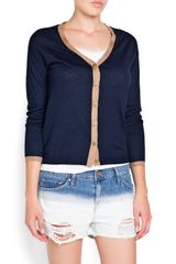 Mango Contrasted Trimmings Cardigan - Lyst