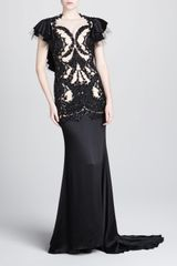 Marchesa Couture Beaded Mesh Satin Gown - Lyst