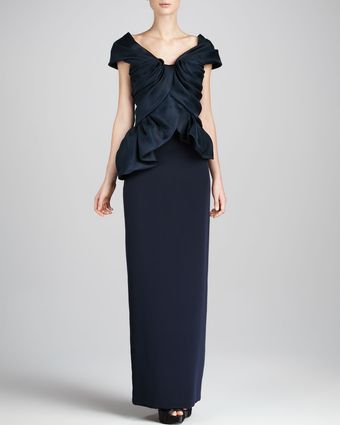 Marchesa Couture Structured Top Combo Dress Navy - Lyst