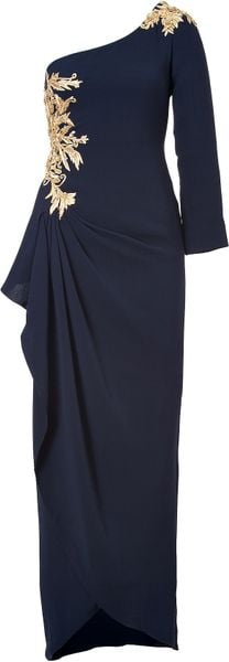 Marchesa Silk Embellished One Shoulder Gown in Navy - Lyst