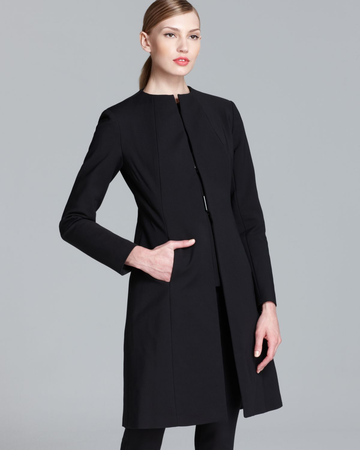 Raoul Collarless Coat in Black | Lyst