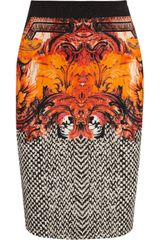 Roberto Cavalli Printed Stretch-crepe Pencil Skirt - Lyst